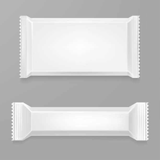 White Blank Chocolate Bar Mockup Polyethylene Package Candy Plastic Wrap Front