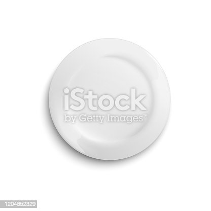 istock White blank clean plate template photo realistic vector illustration isolated. 1204852329