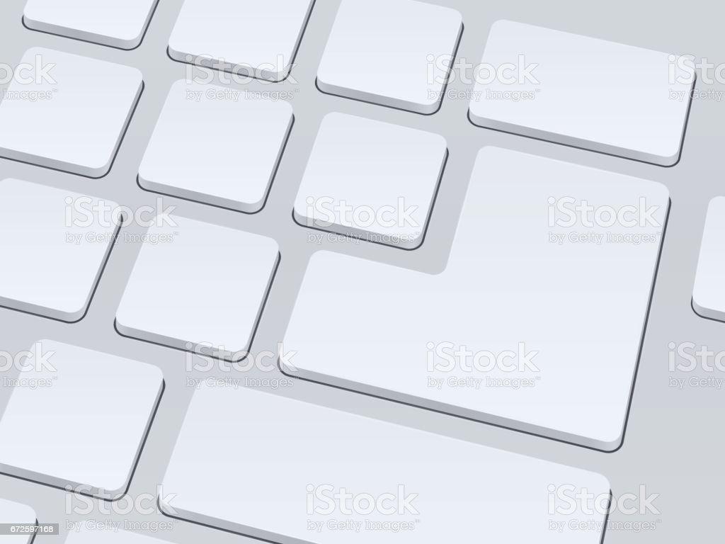 White blank computer keyboard. Close up image. Vector illustration background. vector art illustration