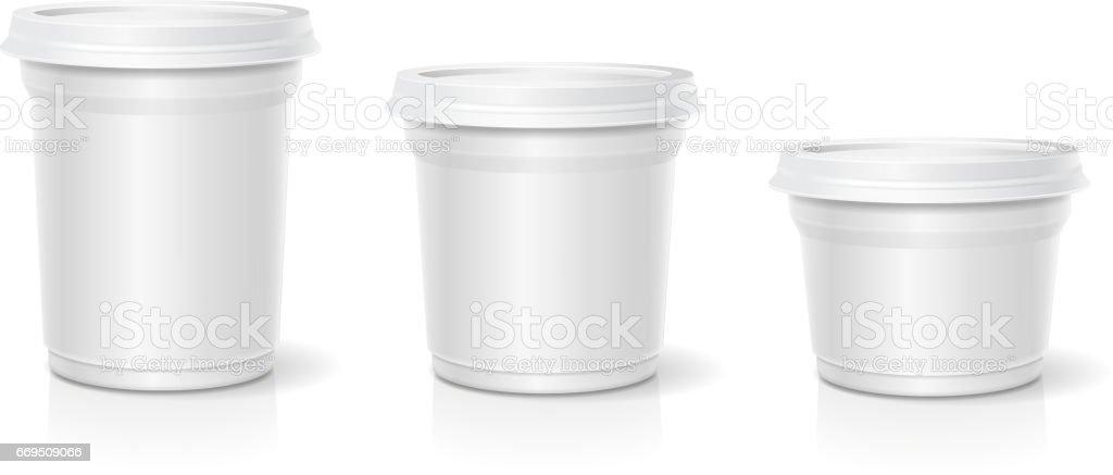 White blank container for dessert, yogurt, ice cream, Vector set vector art illustration