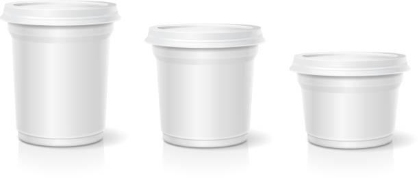 illustrazioni stock, clip art, cartoni animati e icone di tendenza di white blank container for dessert, yogurt, ice cream, vector set - gelato confezionato