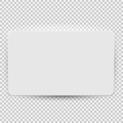 White blank credit or gift card model template top view with shadow isolated on transparent background. Vector Illustration