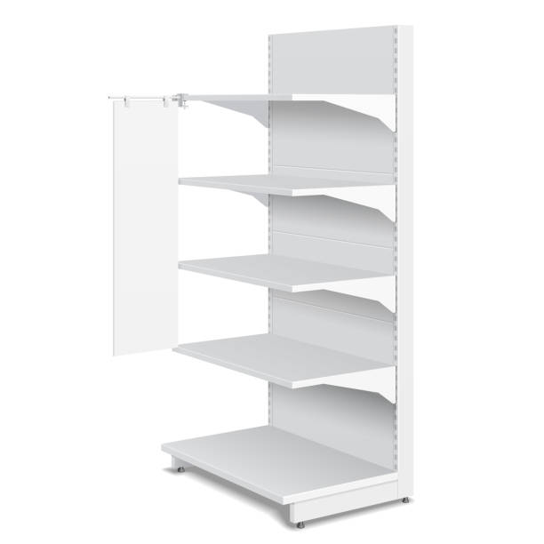 white blank empty shelf stopper banner showcase displays mit retail shelves products 3d auf weißem hintergrund isoliert. ready for your design. produkt verpackung. vector eps10 - kastenständer stock-grafiken, -clipart, -cartoons und -symbole