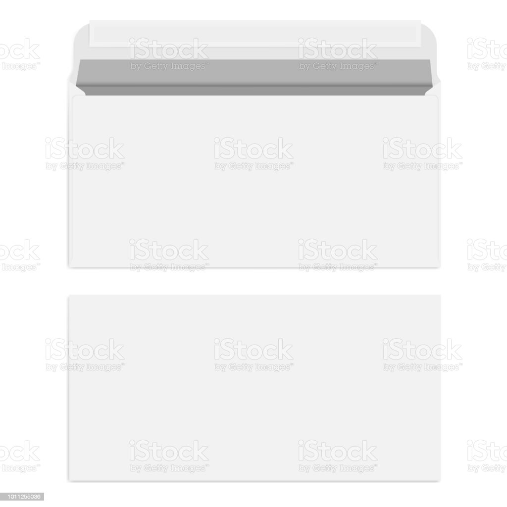 white blank envelope with self adhesive seal vector template stock