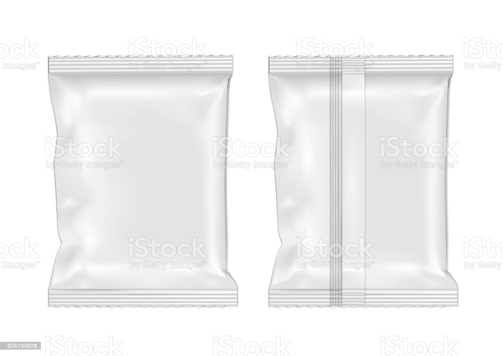 White blank foil food snack pack for chips, candy. vector art illustration