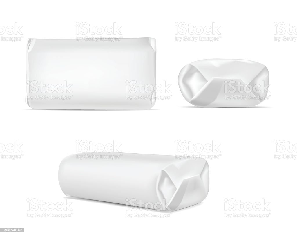 White blank foil or paper packaging isolated on white background vector art illustration