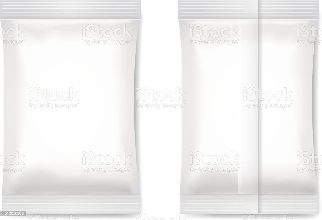 White blank foil packaging sachet   Vector vector art illustration