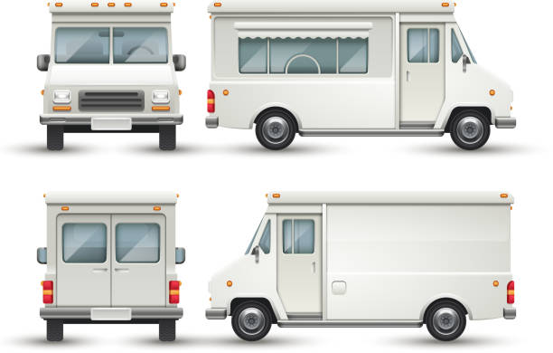 White blank food car, commercial truck isolated vector art illustration