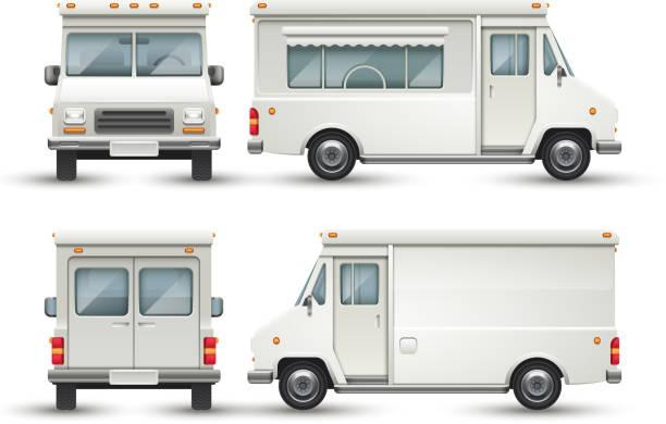 weiße leer essen auto, lkw, isoliert - imbisswagen stock-grafiken, -clipart, -cartoons und -symbole