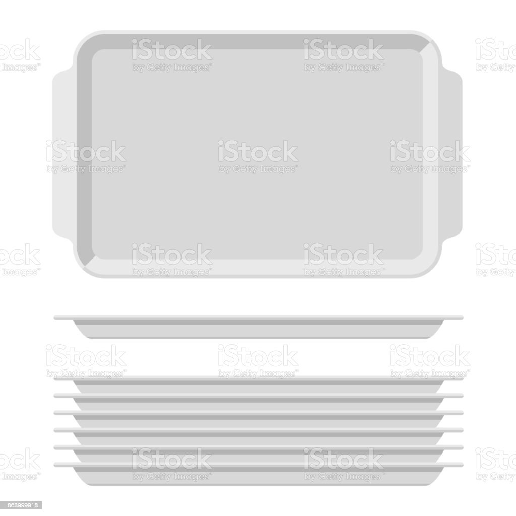 White blank food tray set with handles. Rectangular kitchen salvers isolated on white background. Plastic tray for canteen illustration, top view plate rectangle stack vector art illustration
