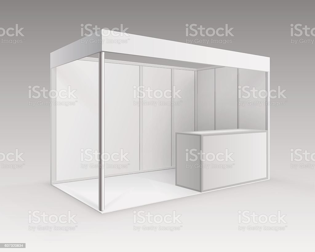 White Blank Indoor Trade exhibition Booth Standard Stand for Presentation vector art illustration