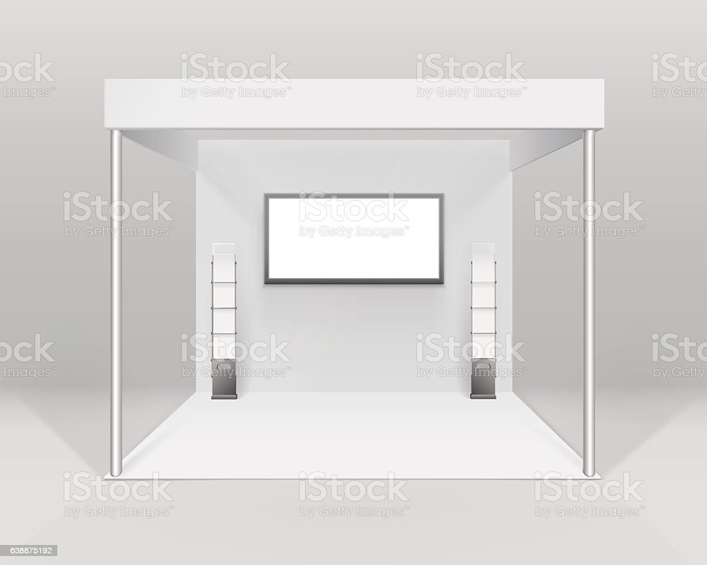 Exhibition Booth Blank : Large trade show booth with two segments white and blank blank