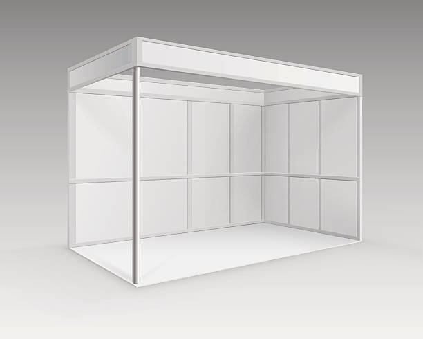 White Blank Indoor Trade exhibition Booth Standard Stand in Perspective vector art illustration