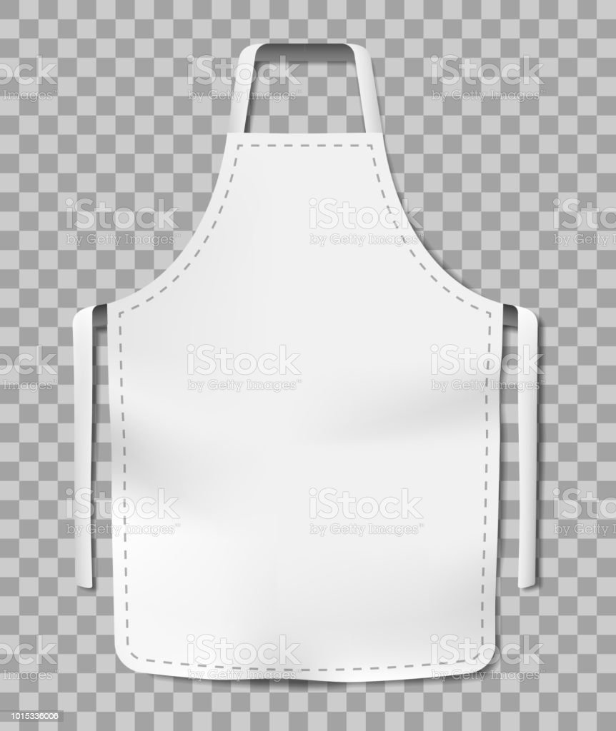 White blank kitchen chef apron isolated on transparent background. Cotton realistic apron for cooking or baker. vector illustration - illustrazione arte vettoriale