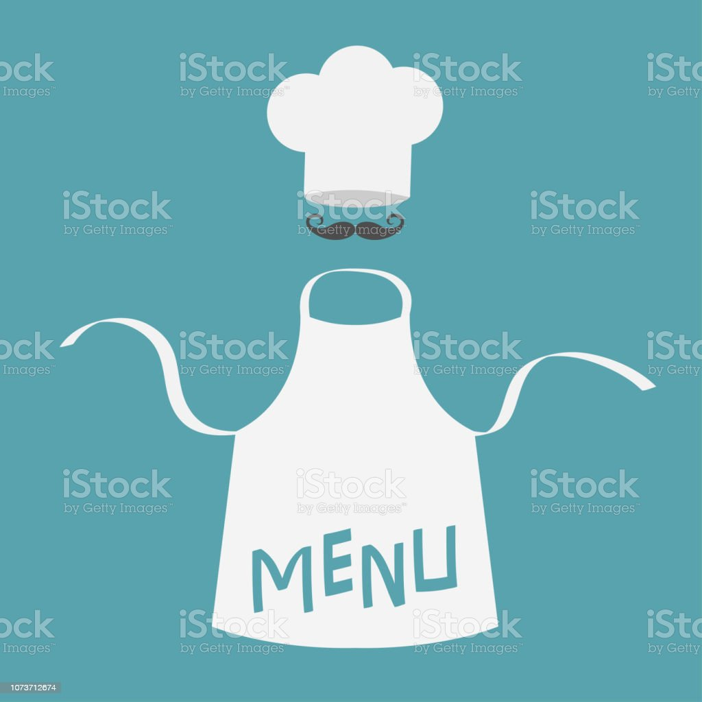 df914a055e White blank kitchen cotton apron. Chef hat and big mustaches. Menu card  template.