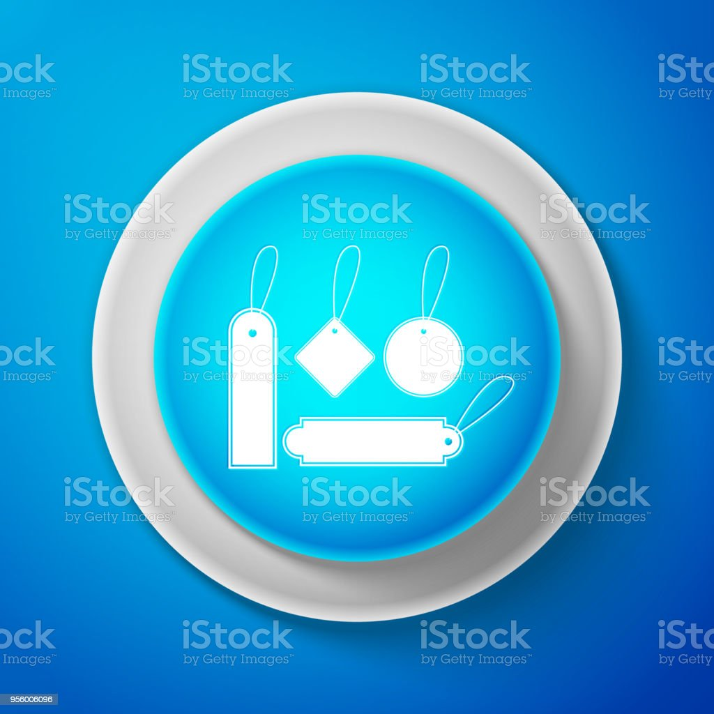 white blank labels template price tags set icon isolated on blue
