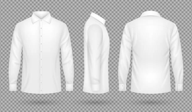 White blank male shirt with long sleeves in front, side, back views. Realistic vector template isolated vector art illustration