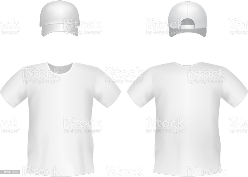 White blank men's t-shirt template with a cap vector art illustration