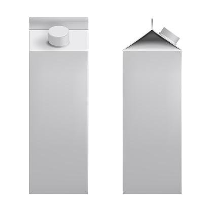 White blank mockup cardboard box, Package for milk, juice realistic 3d vector.