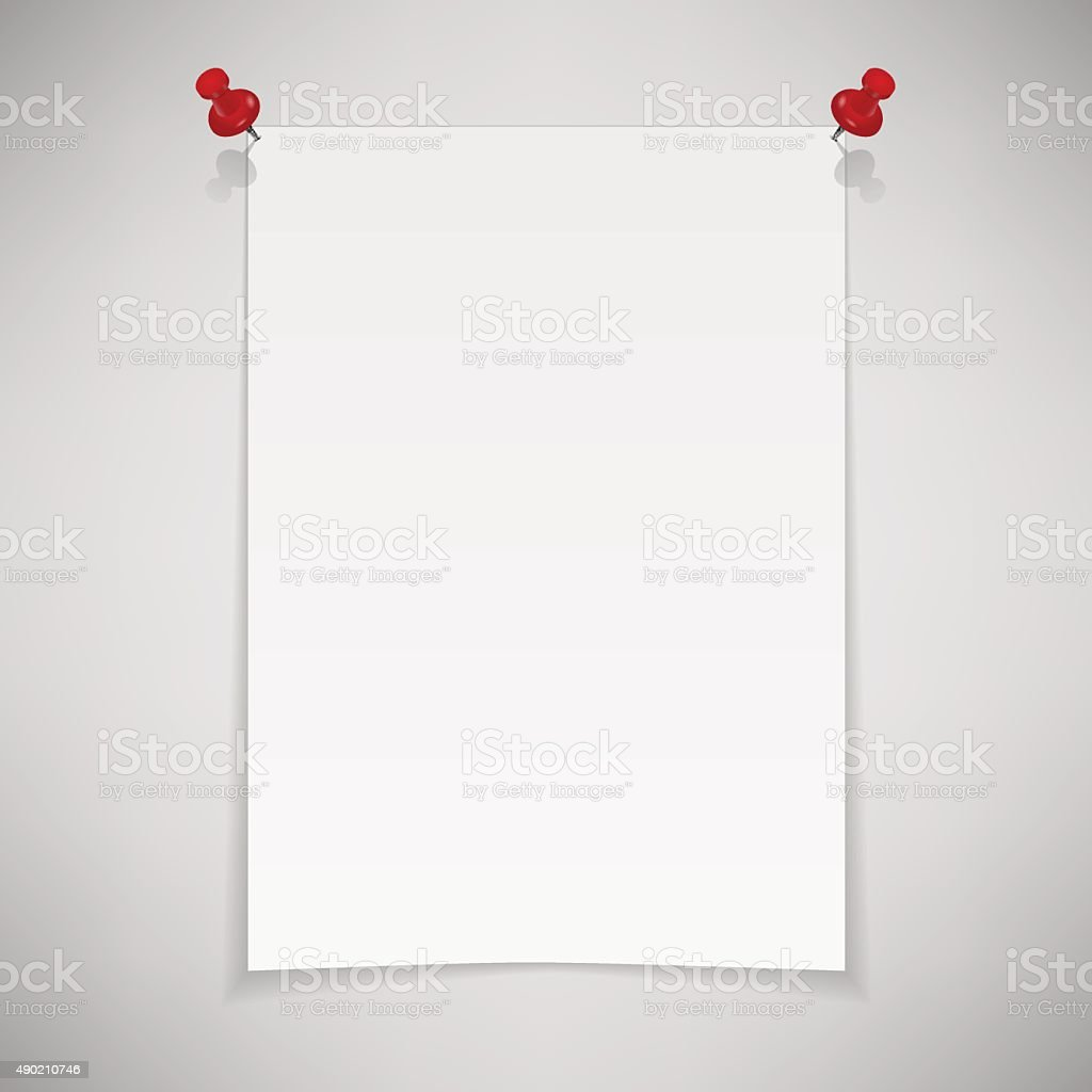 White blank paper attached with red pin. Vector illustration vector art illustration