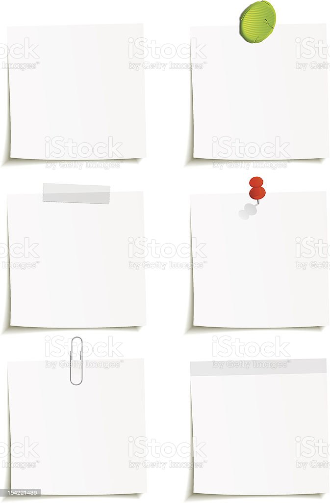 White blank paper notes pinned vector art illustration