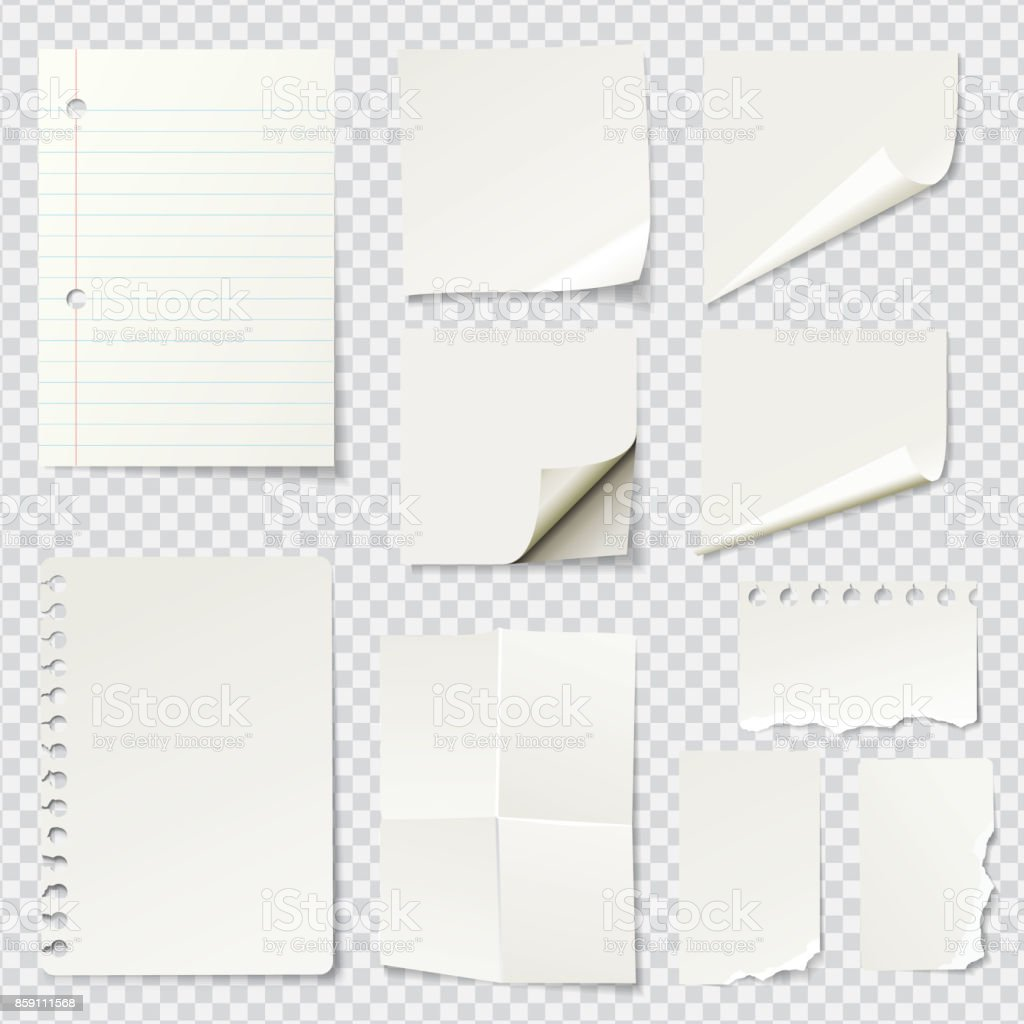White Blank Paper Notes vector art illustration