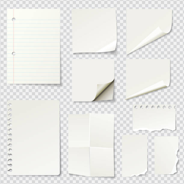 illustrazioni stock, clip art, cartoni animati e icone di tendenza di white blank paper notes - post it