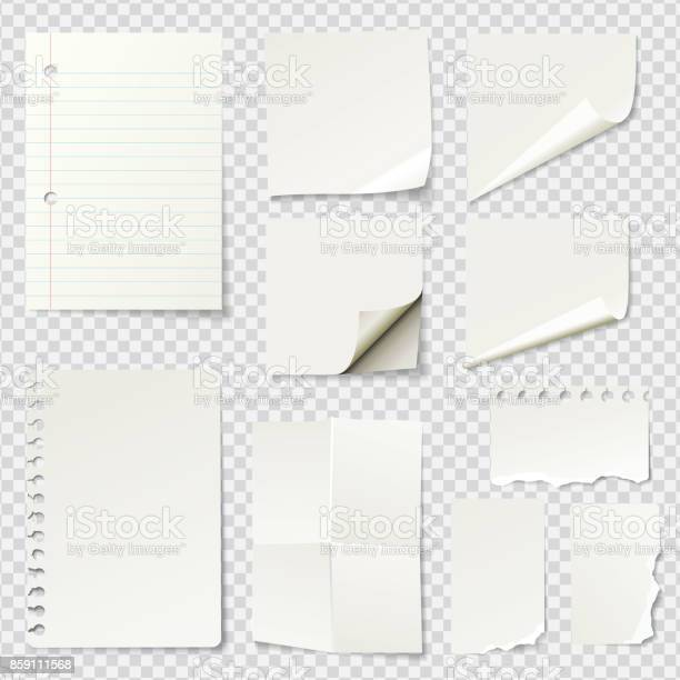 Vector white blank paper notes