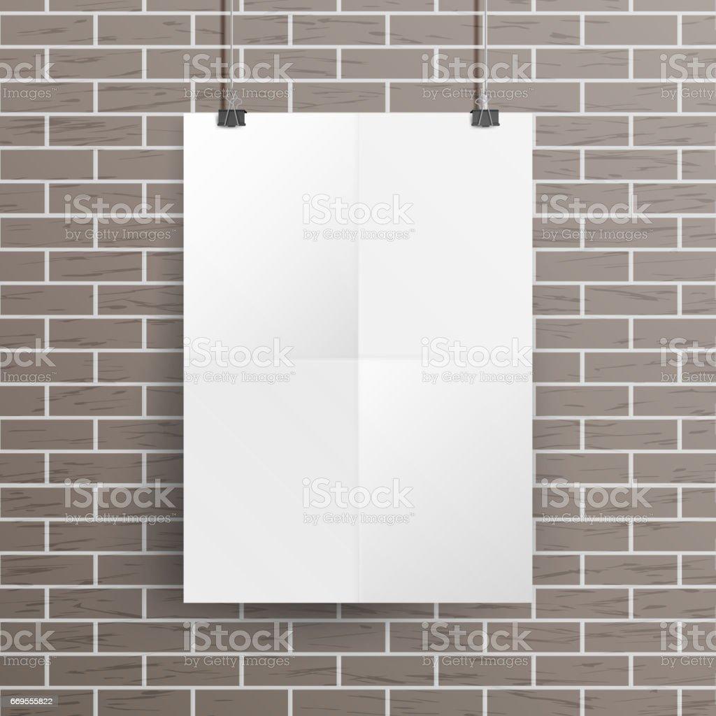 Weiße Leere Papier Wand Poster Mockup Vektor Vorlage Realistische ...