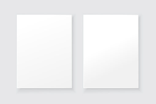 White blank picture frame. Interior mockup. Vector paper art illustration. Stock image. EPS 10.
