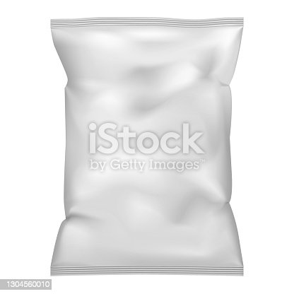 istock White blank pillow bag, realistic vector mock-up. Crumpled pouch package, mockup. Potato chips, candies or other food snack pack. Template for design 1304560010