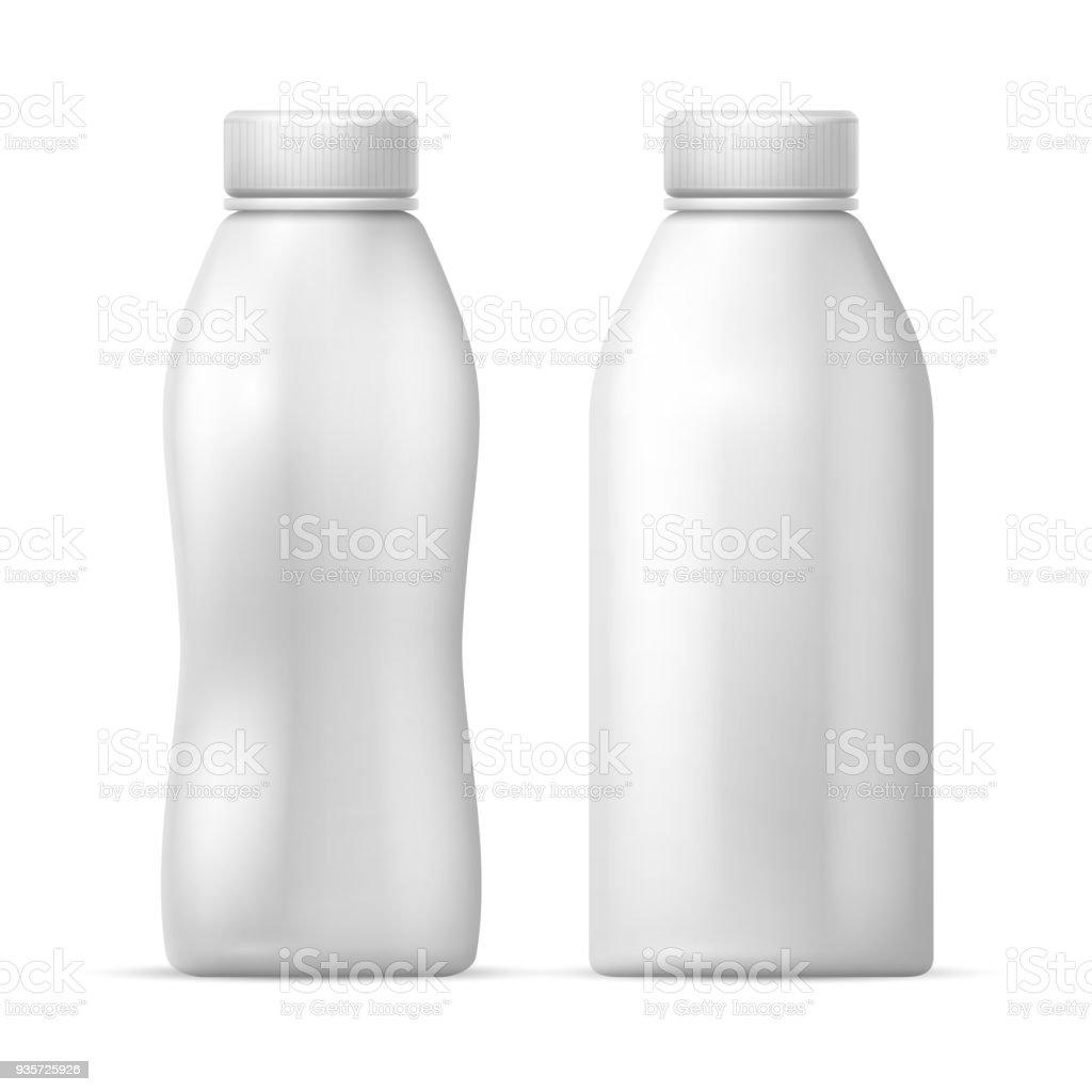 White Blank Plastic Bottle Vector Packaging Template For Dairy Milk