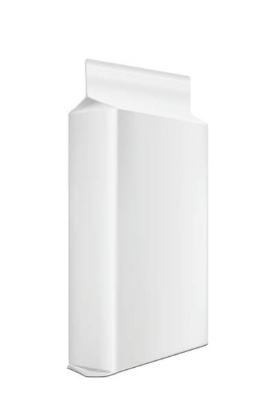 weißer blanker plastik-oder papierreinpulver-verpackungen. beutet für brot, kaffee, süßigkeiten, kekse und geschenk - vakuumverpackung stock-grafiken, -clipart, -cartoons und -symbole