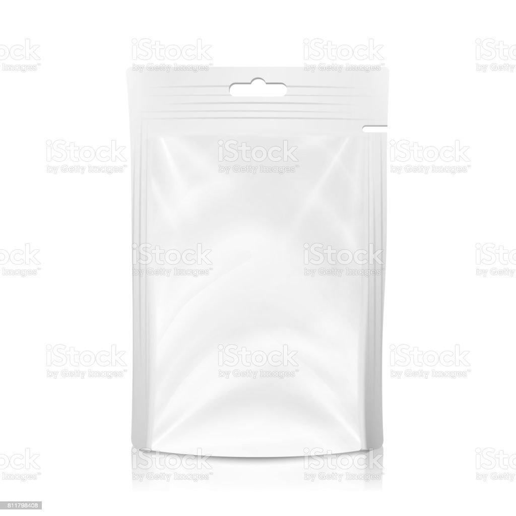 Vetor de saco de bolso branca de plástico em branco. Simulação realista até modelo de plástico da folha comida ou beber Doypack saco. Limpe o Slot Hang. Modelo de Design de embalagem. Ilustração isolada - ilustração de arte em vetor