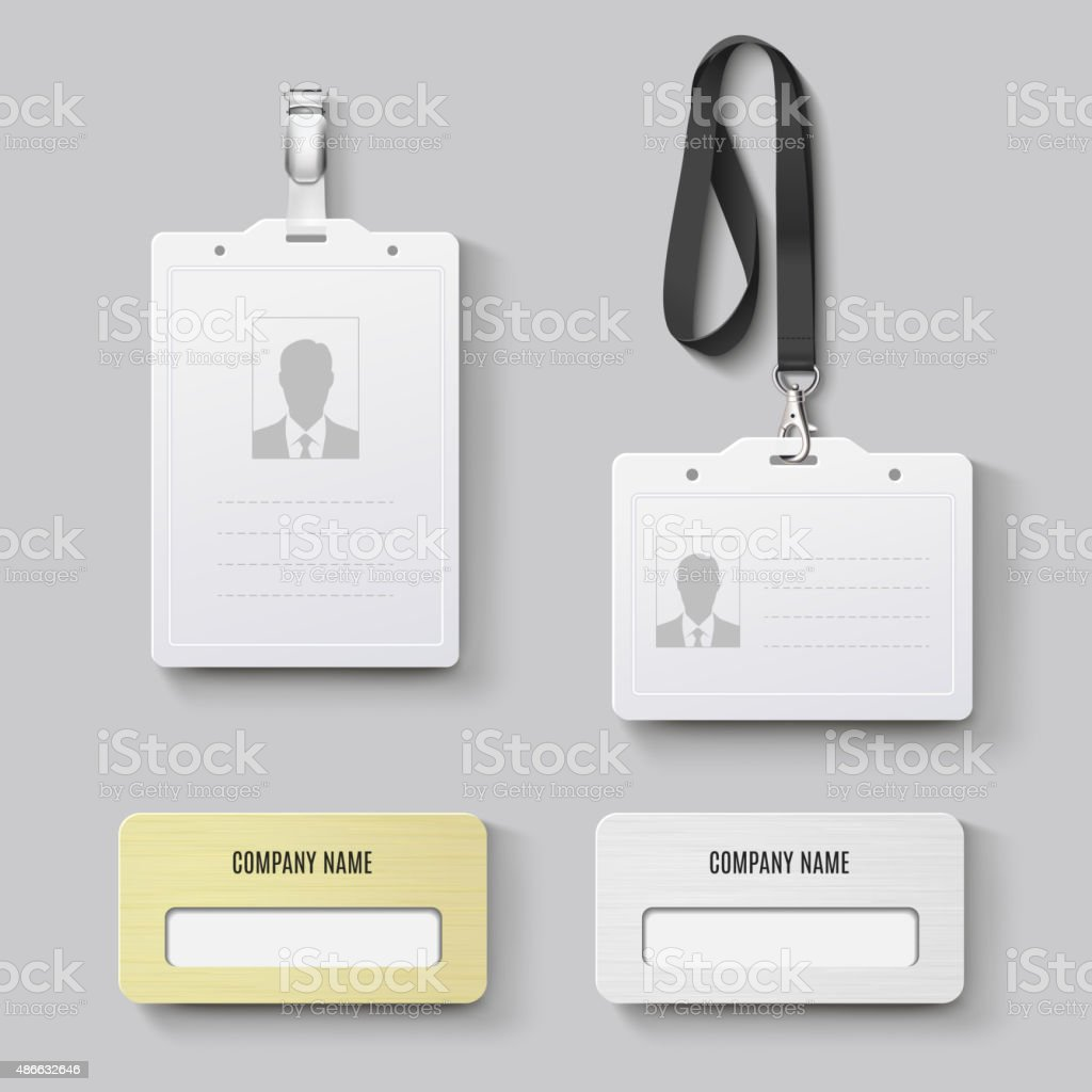 White blank plastic with clasp lanyards identification badge vector art illustration