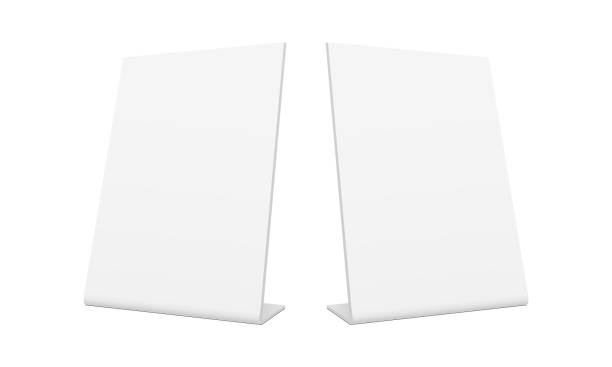 white blank pos stand banners - half side view - tablica reklamowa stock illustrations