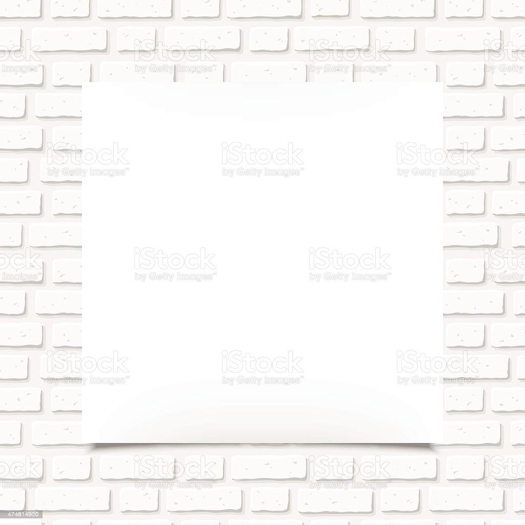 Branco em branco Cartaz em uma parede de tijolo. Ilustração vetorial. - ilustração de arte vetorial