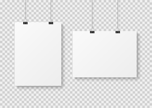 White blank poster template. Presentation wall paper posters, photo canvas clean advertising hanging banner vector isolated mockup