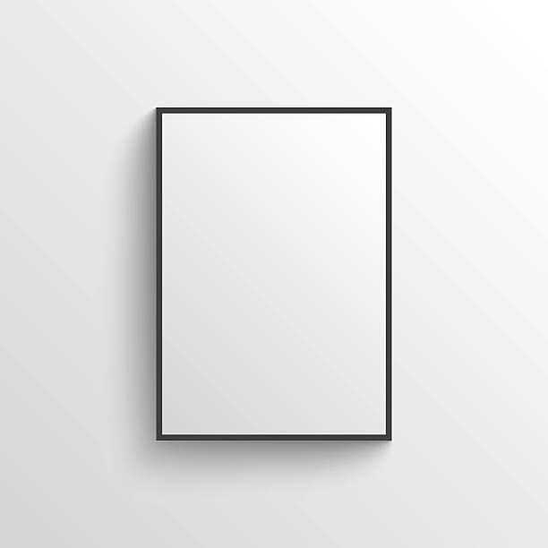 white blank poster with frame mock-up on grey wall - poster stock illustrations