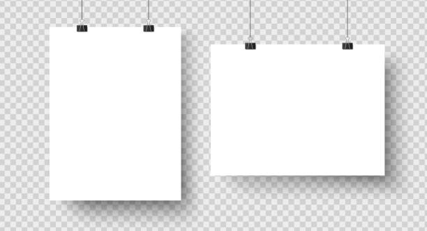 white blank posters hanging on binders. a4 paper page, sheet on wall. vector mockup - wisieć stock illustrations