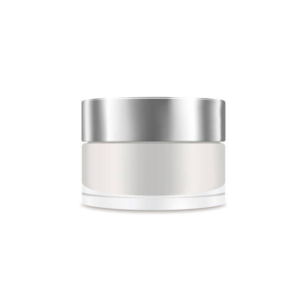 White blank realistic cream container. Mockup, cosmetic package, jar vector illustration White blank realistic cream container. Mockup, cosmetic package, jar vector illustration jar stock illustrations