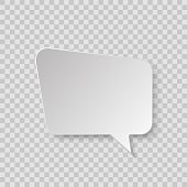 White blank retro speech bubble isolated on transparent background.