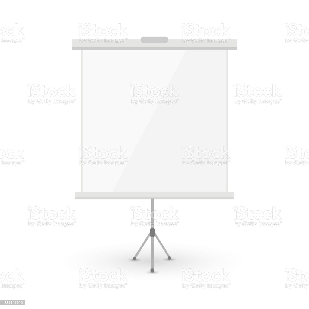 White blank roll-up on tripod isolated on white vector art illustration