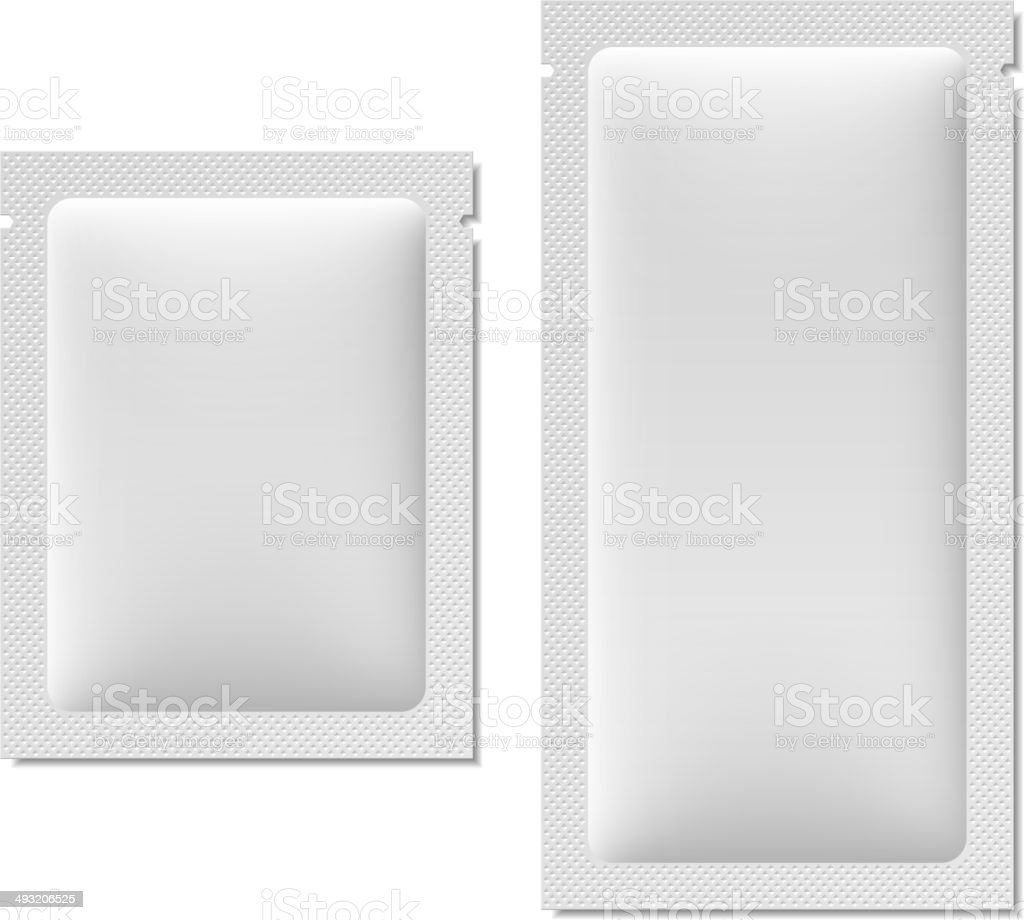 White blank sachet packaging for food, cosmetics, or medicine vector art illustration
