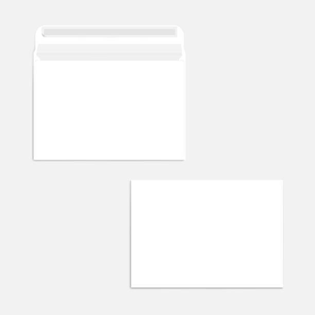 White blank self seal C5 envelope - front and back, realistic mockup White blank self seal C5 envelope, realistic mockup. Front and back. Open and closed. Vector mock-up. flapping wings stock illustrations