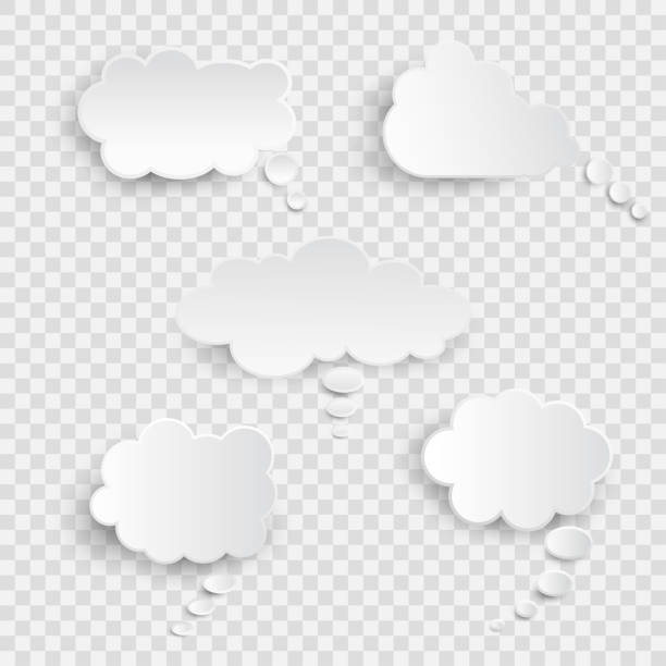 white blank speech bubbles isolated vector set. infographic design thought bubble on the transparent background. eps 10 vector file - sleep stock illustrations