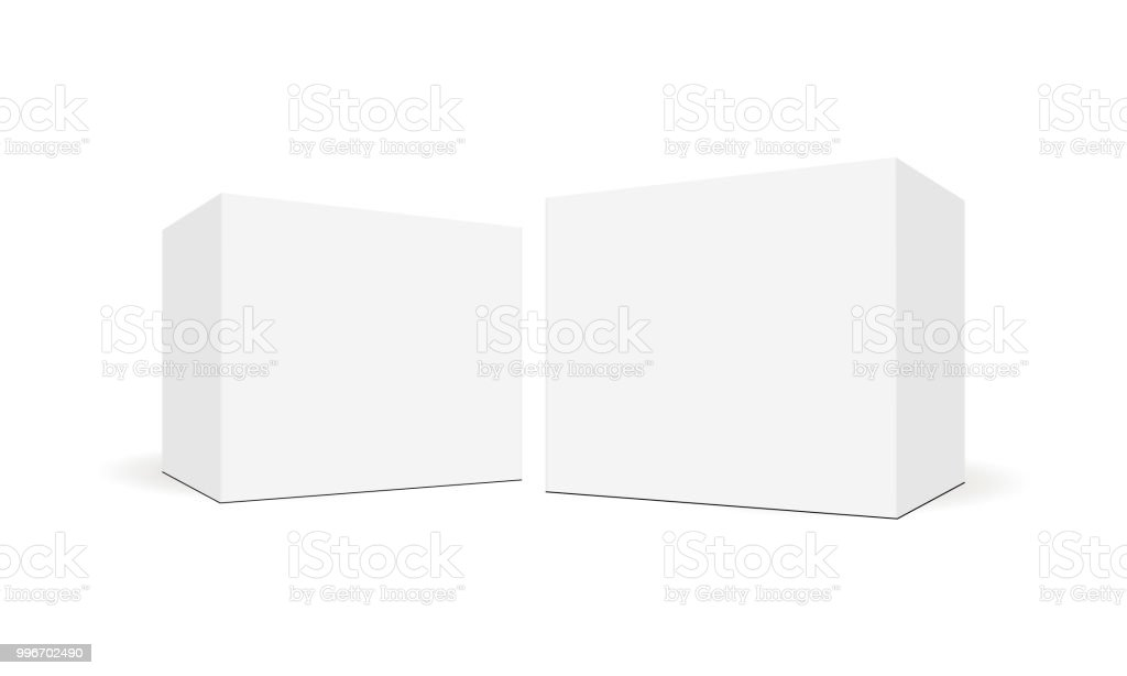 White blank square boxes with side perspective view