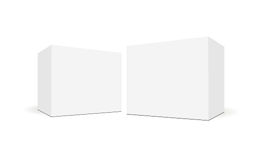 White blank square boxes with side perspective view clipart