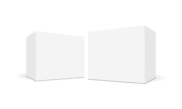 white blank square boxes with side perspective view - boxes stock illustrations, clip art, cartoons, & icons