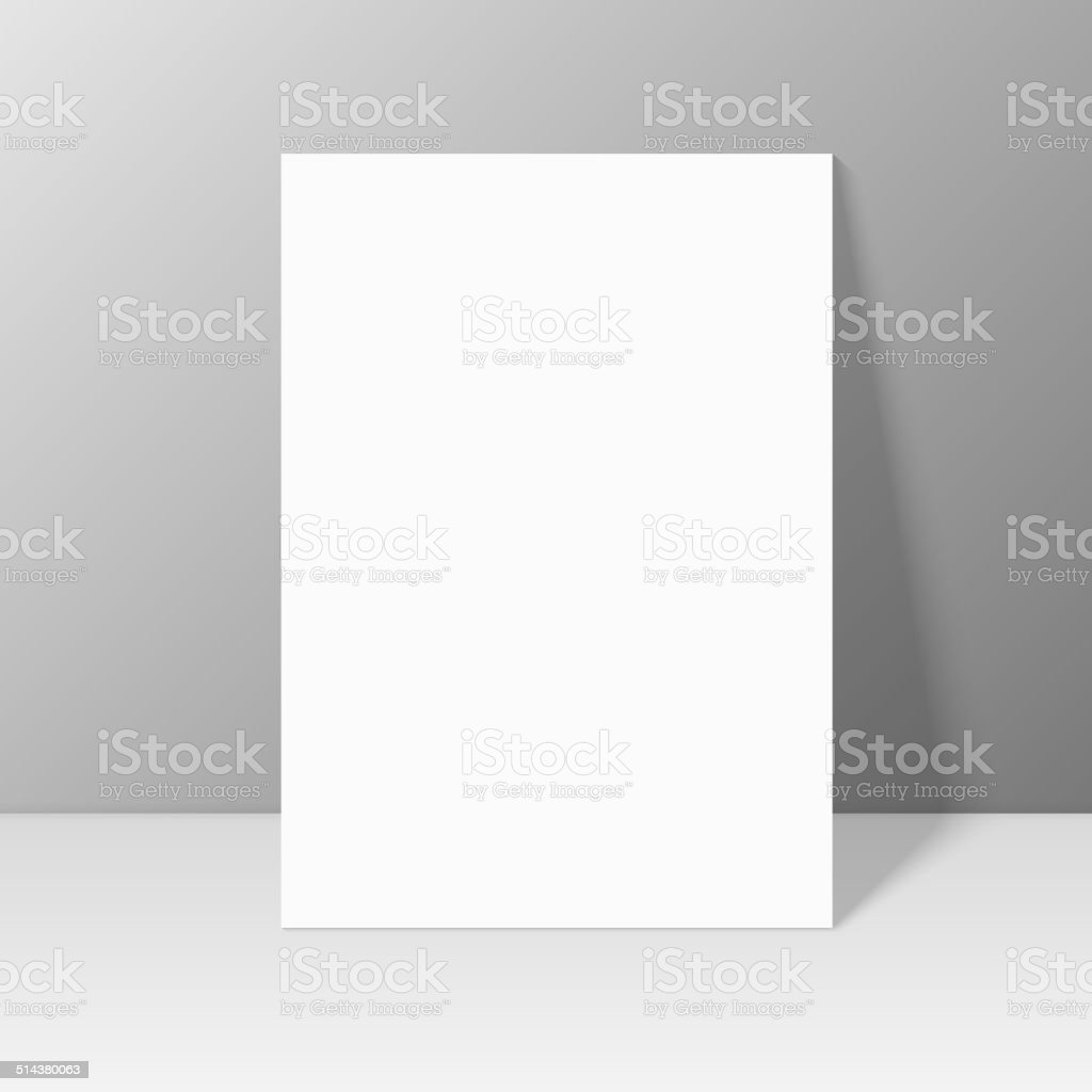 White blank stationary near the wall with shadow. vector art illustration